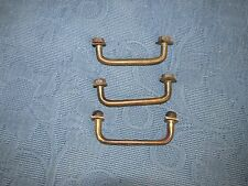 3 Antique Brass Metal Lift Handles for Metal Containers with Covers,Nuts,& Bolts