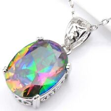 Gorgeous Shiny Oval Cut Mystic Fire Topaz Platinum Plated Necklace Pendants New
