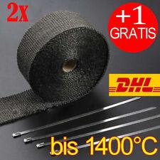 2x 15m Titan Hitzeschutzband Auspuff Band bis 1400° Hitzeschutz Krümmer Schwarz
