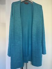MISSONI LUXURY LONG LUREX CARDIGAN IN SHIMMERING TURQUOISE - NEW - RRP £ 650