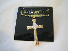 Cross Pendant / Necklace wtih Clear 6mm CZ Stone - NWT