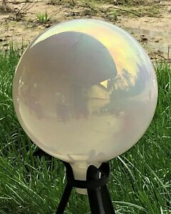 NOS Rainbow Sparkle Hand Blown Carnival Glass 10 inch Gazing Ball USA MADE