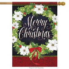 "White Christmas Wreath House Flag Holiday Poinsettia Holiday Bows 28"" x 40"""