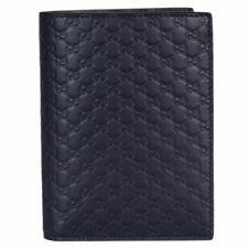 Gucci Mens Midnight Blue Vertical Passport Holder Microguccissima Leather 496948