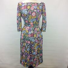 1950s 60s Vintage Handmade Floral Stretch Wiggle Floral Side Zip Dress Small E6