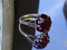 * SALE * VINTAGE SARAH COVENTRY STERLING SILVER 925 OXIDISED RED QUARTZ RING