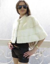 Rare New Ivory / White Mink Fur Cap Shrug Jacket perfect for wedding