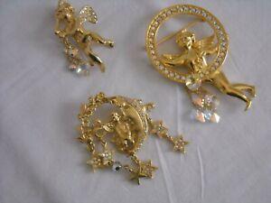 3 Vintage KIRK'S FOLLY CHERUB BROOCHES Crystal Hearts Moon Stars Angel Pins