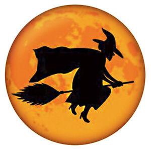 Halloween Black Orange Witch on Broom Enamel 20mm Snap Charm for Ginger Snaps