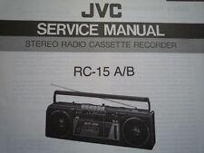 JVC RC-15 RADIO REGISTRATORE A CASSETTE MANUALE servizio riparazione diagramma di cablaggio parti