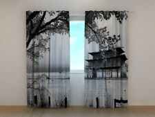 Curtain with Scenery Print Chinese Landscape Wellmira Custom Made 3D Bedroom