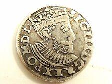"""1590 Poland Three (3) Grosze (Trojak) Silver """"Sigismund lll Vasa"""" Coin"""