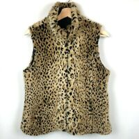 Kristen Blake Reversible Vest Faux Fur Animal Print Cheetah Size Small Full Zip