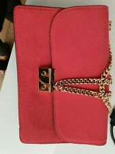 Ladies Pink Suede Mango Bag With Gold Chain