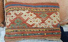 1900s ANATOLIAN PILLOW textile woven  pastoral Yoruk Green Indigo