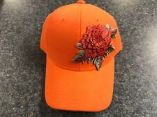 NEW Women's Orange Flower Hook & Loop Adjustable Baseball Cap - FREE SHIPPING