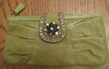 Fossil Olive Green Clutch-Rhinestones & Beads on Flap-Zipper Closure