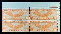 1934 US Airmail SC#C19 6c Winged Globe Plate Block of 4 MNH/OG