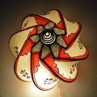 Moroccan Henna Ceiling Light Fixture Goat Skin Fancy Handmade Decor Beige/Red