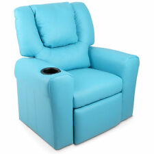 Kids Padded PU Leather Recliner Chair Blue 9cm Thick Foam Padding W Drink Holder