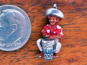 Vintage sterling silver CARIBBEAN ISLAND RED BONGO BONGA DRUMMER MUSICIAN charm