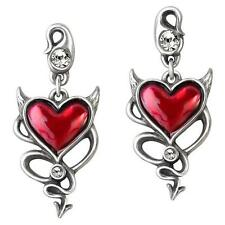 ALCHEMY DEVIL HEART EARRINGS Pewter Red Enamel Gothic Horns Tail +FREE GIFT BOX