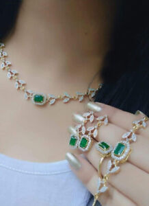 Indian Pakistan Bollywood American Diamond Necklace Combo Green Party Wear