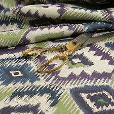 New Kilim Design Modern Geometric Pattern Purple Green Light Upholstery Fabric