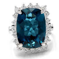 12.90Ct Natural LONDON BLUE TOPAZ & Diamond 14K Solid White Gold Ring
