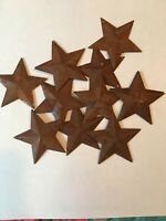 """Lot of 10 Rusty 1.5"""" (1-1/2"""") Country Barn Stars, 3D, Rusted, Hang Hole Star"""