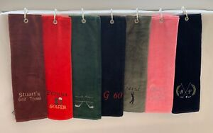 PERSONALISED GOLF TOWEL TRI FOLD SPORTS TOWEL GOLF GIFT CARABINERS CLIP