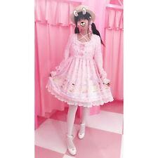 Women's Lolita Sweet Cake with Rabbit Print Dress Long Sleeve Cute 3 Colors XC