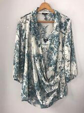 TALBOTS Faux Wrap Sheer Chiffon Blouse Cami Set Top Blue Tan Artsy Print Sz 20WP