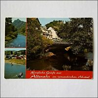 Altenahr Ahr Valley with Castle Are and campsite 1976 Postcard (P402)