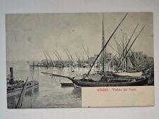 ANZIO veduta del Porto barca vela Roma vecchia cartolina 335