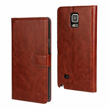 For Samsung Galaxy Note 4 Brown Leather Cash Card Wallet Case Cover Stand