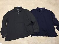 mens lot of 2 club room performance blue gray long sleeve large polo shirt 02-20