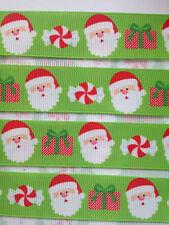 "Cute Santas with Presents & Candy 7/8"" Printed Grosgrain Christmas Ribbon 1m"
