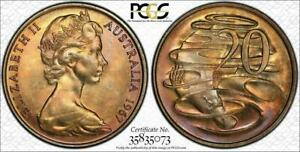 1967 AUSTRALIA 20 CENTS BU PCGS MS65 GRADED & TONED EXCELLENT COIN !