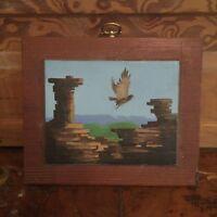 Vintage Outsider Art Oil Painting On Wood Eagle Landscape