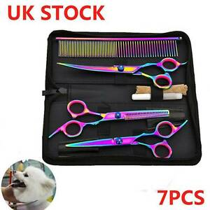Dog or Cat Grooming Scissors Set Pet Hair Shears Comb Kit Tool Cutting Thinning
