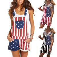Men Women US American Flag Printed Overalls Shorts Jumpsuit Lover Couple Pants