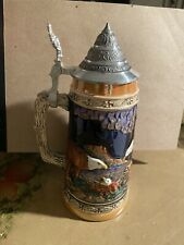 Vintage Hand Painted German Lidded Beer Stien