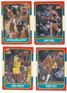1986 Fleer Basketball Lot (4) Larry Bird, James Worthy, Jabbar, Byron Scott