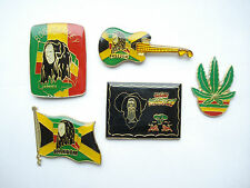 BOB MARLEY JAMAICAN FLAG REGGAE RASTAFARI MUSIC GUITAR PIN BADGE JOB LOT BUNDLE