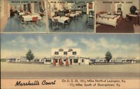Georgetown KY Area Marshall's Court & Gas Station Linen Postcard