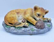 Homco Masterpiece Porcelain 1985 Lion Cub & Turtle Figurine Animals Home Interio