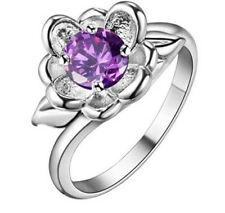 HOT flower Women Purple Gemstone Crystal Silver Wedding Ring Jewelry Size 6