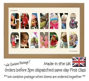 Granny and Grandad Photo Frame Letter Word Name Frame Single Mounted 1358D