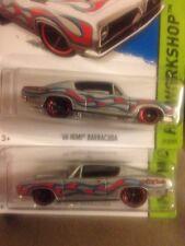2x Hot Wheels Flamed 68 Hemi Plymouth Barracuda    **BACKWARDS ERROR** & Crooked